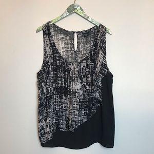TORRID black white layered flowy tank top blouse